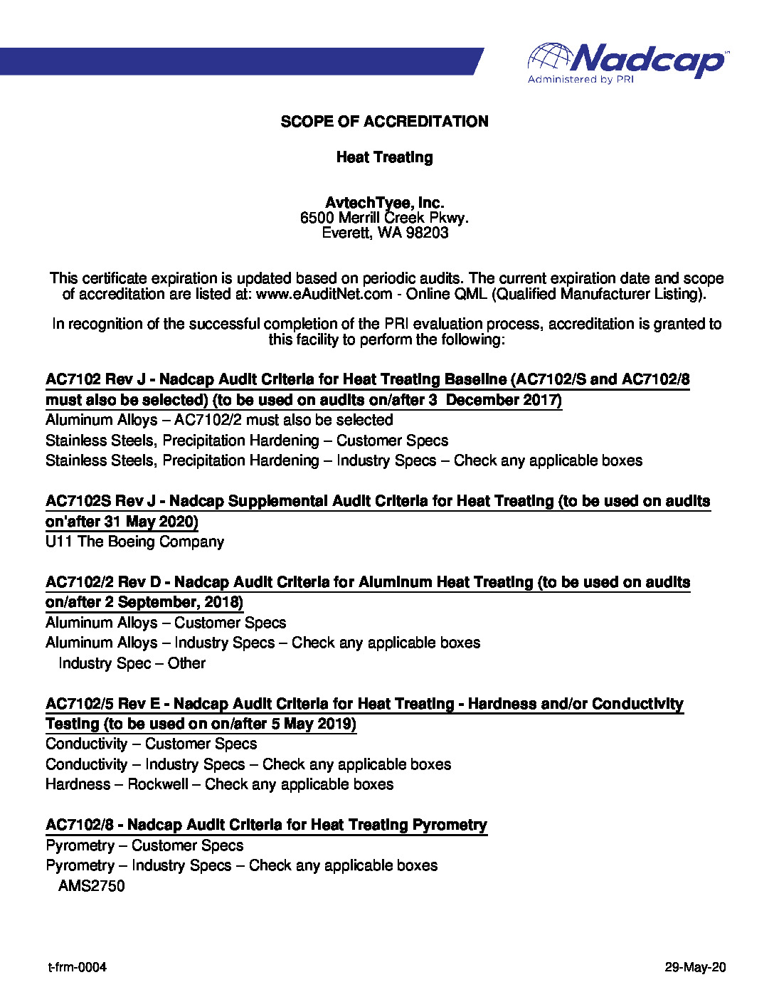 Scope of Heat Treating Accreditation